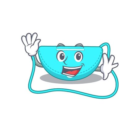 A charming sling bag mascot design style smiling and waving hand. Vector illustration