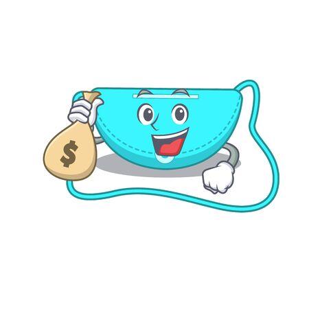 Crazy rich sling bag mascot design having money bags. Vector illustration