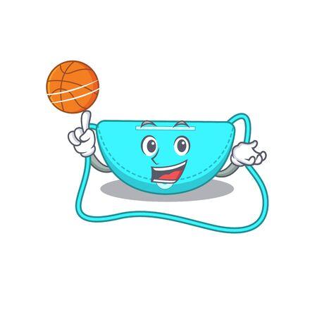 Sporty cartoon mascot design of sling bag with basketball. Vector illustration