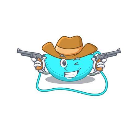Cartoon character cowboy of sling bag with guns. Vector illustration