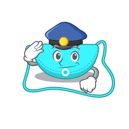 Police officer cartoon drawing of sling bag wearing a blue hat. Vector illustration Çizim