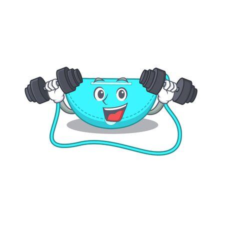 sling bag mascot design feels happy lift up barbells during exercise. Vector illustration