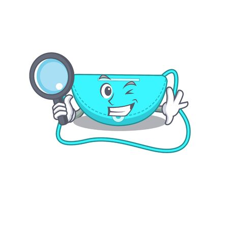 cartoon picture of sling bag Detective using tools. Vector illustration