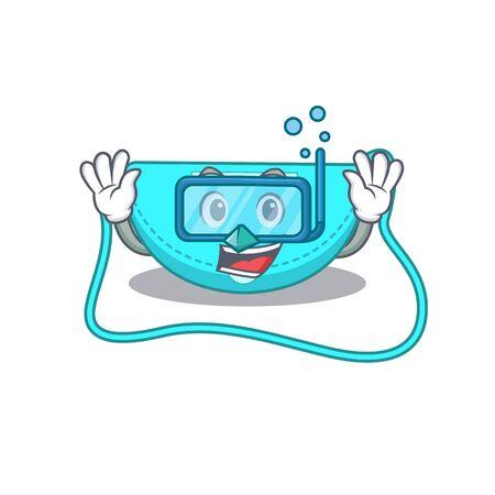 sling bag mascot design swims with diving glasses. Vector illustration