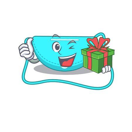 joyful sling bag cartoon character with a big gift box. Vector illustration Illustration