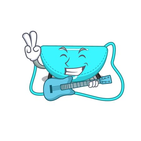 brilliant musician of sling bag cartoon design playing music with a guitar. Vector illustration Vettoriali