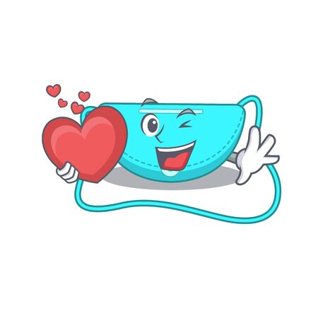 A sweet sling bag cartoon character style holding a big heart. Vector illustration