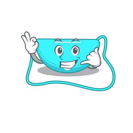 Caricature design of sling bag showing call me funny gesture. Vector illustration