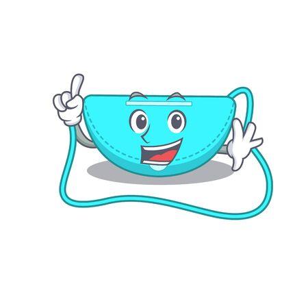 sling bag caricature design style with one finger gesture. Vector illustration