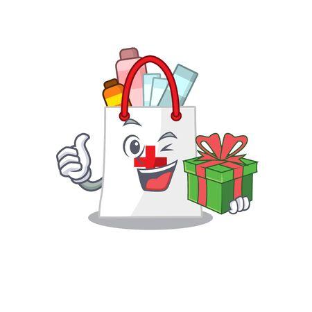 joyful drug shopping bag cartoon character with a big gift box. Vector illustration Illustration