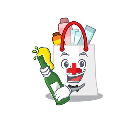 caricature design concept of drug shopping bag cheers with bottle of beer. Vector illustration Vector Illustration