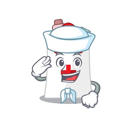 Smiley sailor cartoon character of drug shopping bag wearing white hat and tie. Vector illustration Ilustrace