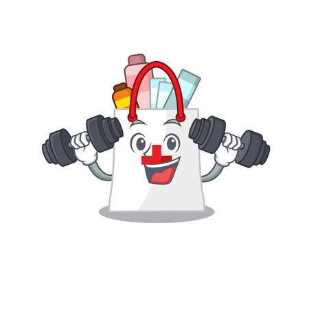 drug shopping bag mascot design feels happy lift up barbells during exercise. Vector illustration