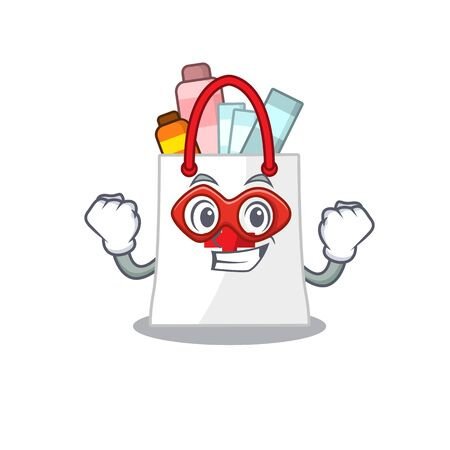 A cartoon drawing of drug shopping bag in a Super hero character