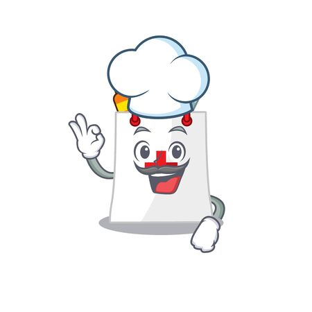 Talented drug shopping bag chef cartoon drawing wearing chef hat Illustration