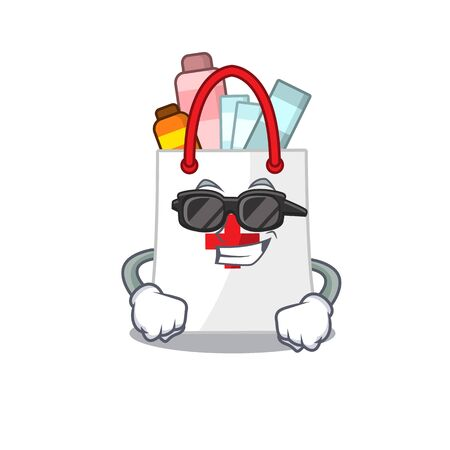 cartoon character of drug shopping bag wearing classy black glasses
