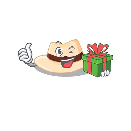 joyful panama hat cartoon character with a big gift box Illustration