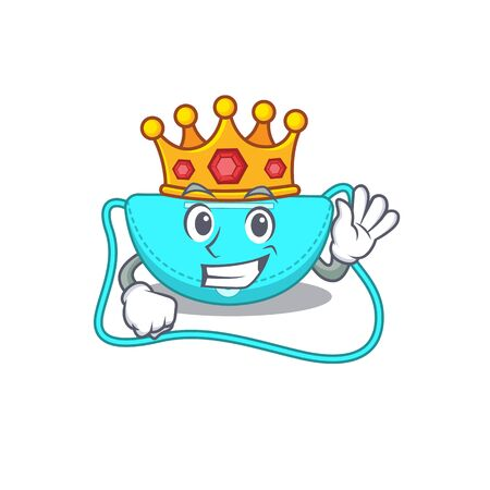 A Wise King of sling bag mascot design style with gold crown. Vector illustration