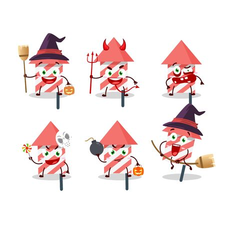 Halloween expression emoticons with cartoon character of fire cracker. Vector illustration