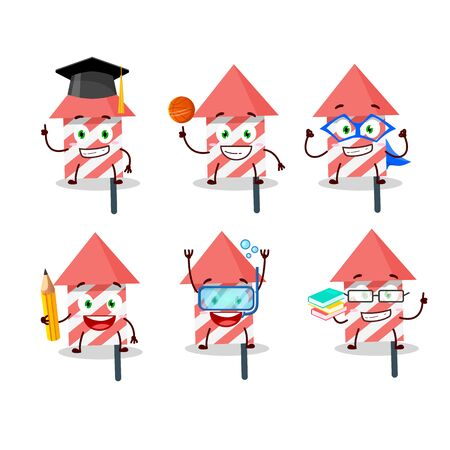 School student of fire cracker cartoon character with various expressions. Vector illustration 版權商用圖片 - 147706487