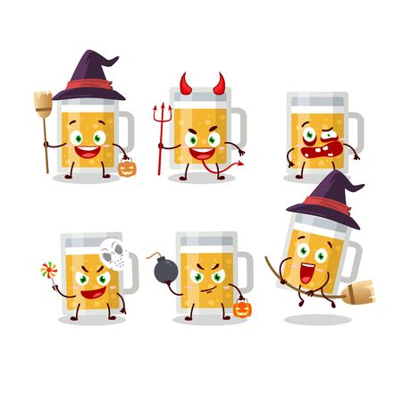 Halloween expression emoticons with cartoon character of mug of beer . Vector illustration