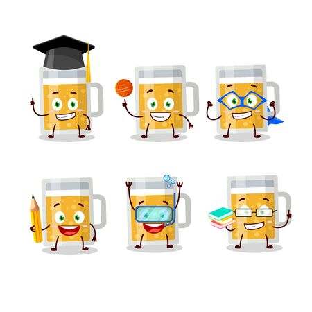 School student of mug of beer cartoon character with various expressions. Vector illustration