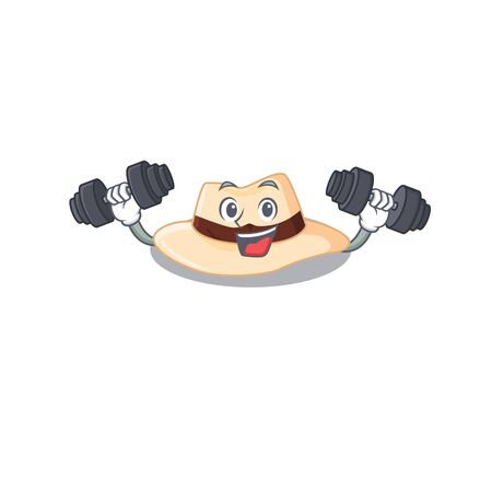 Panama hat mascot design feels happy lift up barbells during exercise. Vector illustration Ilustrace