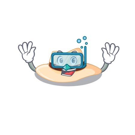 Panama hat mascot design swims with diving glasses. Vector illustration