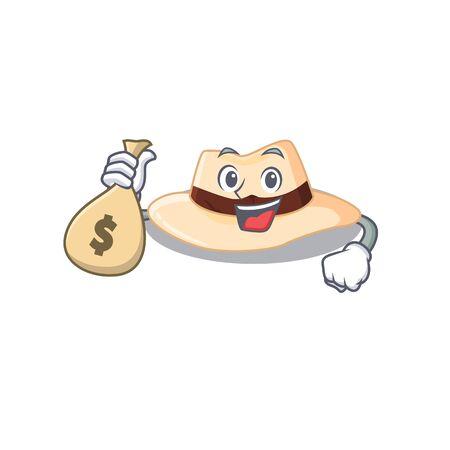 Crazy rich panama hat mascot design having money bags. Vector illustration Stock fotó - 147706543
