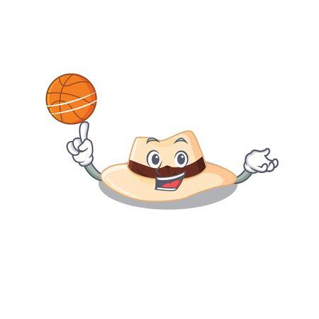 Sporty cartoon mascot design of panama hat with basketball. Vector illustration