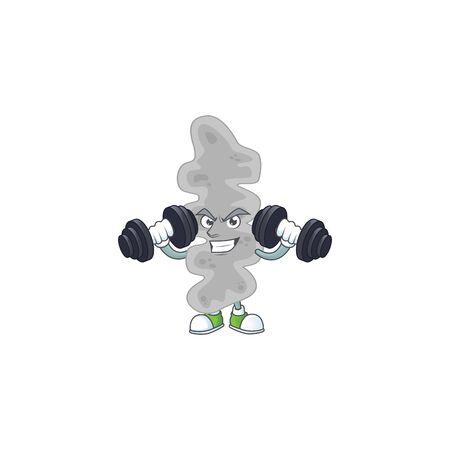 Caricature picture of leptospirillum ferriphilum exercising with barbells on gym. Vector illustration Ilustrace