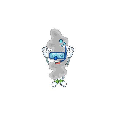 cartoon drawing concept of leptospirillum ferriphilum wearing cool Diving glasses ready to swim. Vector illustration 向量圖像