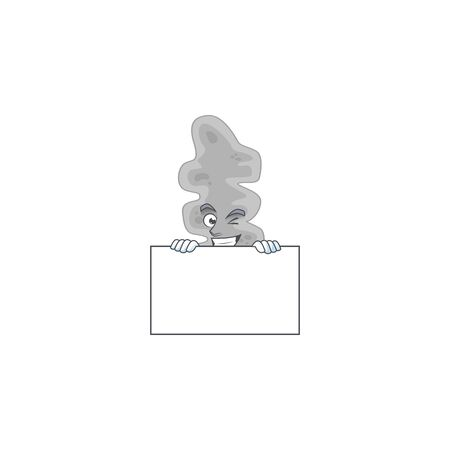 Mascot design style of leptospirillum ferriphilum standing behind a board 矢量图像