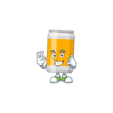 cartoon picture of beer can make a call gesture. Vector illustration Illustration