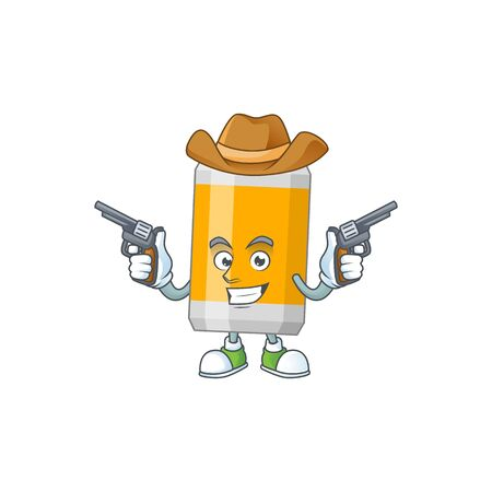 A masculine cowboy cartoon drawing of beer can holding guns. Vector illustration