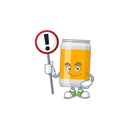 Caricature picture of beer can holding a sign. Vector illustration Illustration