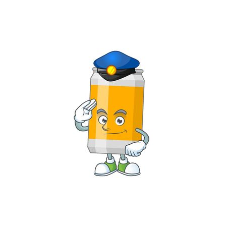 A dedicated Police officer of beer can cartoon drawing concept. Vector illustration