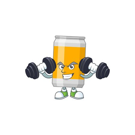 Caricature picture of beer can exercising with barbells on gym. Vector illustration Ilustrace