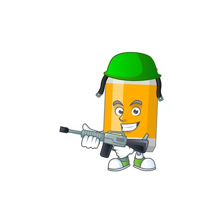 A mascot design picture of beer can as a dedicated Army using automatic gun. Vector illustration Ilustrace