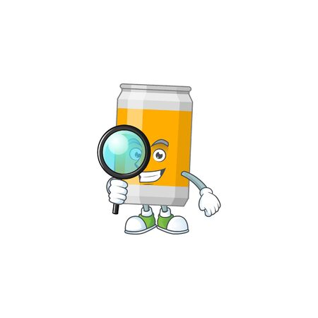 cartoon drawing concept of beer can working as a Private Detective. Vector illustration Çizim