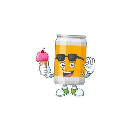 Happy face of beer can cartoon mascot having an ice cream. Vector illustration