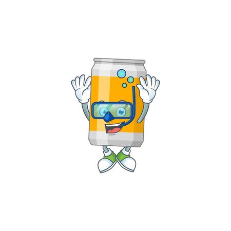 cartoon drawing concept of beer can wearing cool Diving glasses ready to swim. Vector illustration