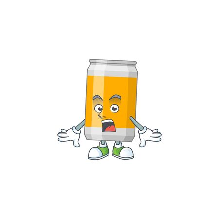 A caricature concept design of beer can with a surprised gesture. Vector illustration