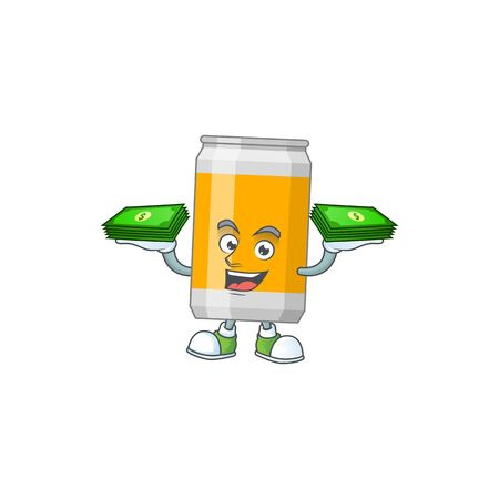 A cheerful beer can cartoon mascot design having some money on hands. Vector illustration
