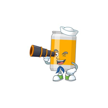 cartoon picture of beer can in Sailor character using a binocular. Vector illustration