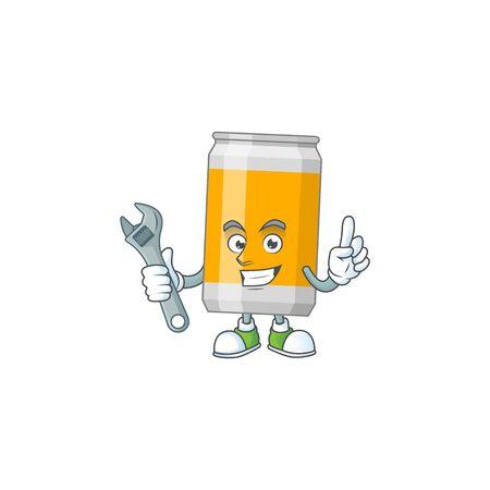 A smart mechanic beer can cartoon mascot design fix a broken machine. Vector illustration
