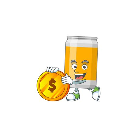 cartoon picture of beer can rich character with a big gold coin. Vector illustration