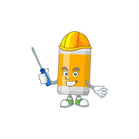 A cartoon image of beer can in a automotive mechanic character. Vector illustration