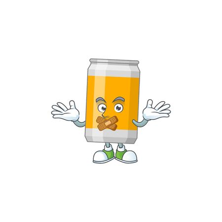 Beer can Cartoon drawing design making a quiet gesture. Vector illustration Illustration