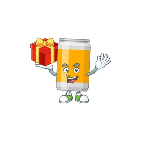 Beer can cartoon mascot concept design with a red box of gift. Vector illustration Illustration